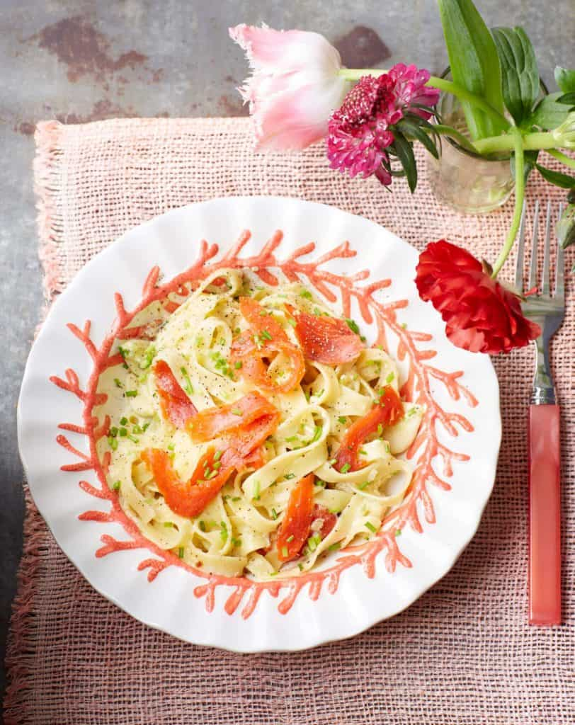 Pasta carbonara smoked salmon